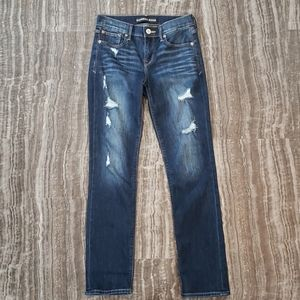 Distressed cropped skinny mid rise jeans
